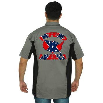 Men's Confederate Rebel Flag Mechanic Work Shirt Defend America