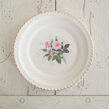 Vintage Dessert Plate Shabby Chic Bread Plate Roses Harkerware USA Plate Creamy White Farmhouse Kitchen