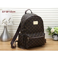 LV tide brand retro men and women models wild fashion large capacity backpack coffee print
