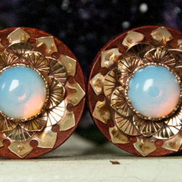 Blood Wood Plugs With Brass Lotus and Opalite