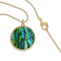 Necklace, Single Loop, Gold or Silver, Green Alcohol Ink Design, Great Gift for Her