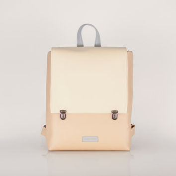 MINIMAL / Pastel minimal faux leather backpack / nude backpack / everyday leather bag  / artificial  white and nude bag