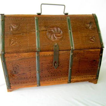 Wood Stash Box Teak Wood Locking With Handle Bar Ware Box
