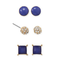 Trendy Trio of Blue Fashion Earrings