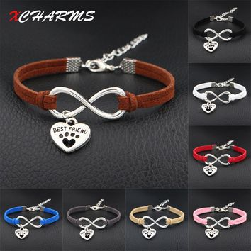 New Dog is My Best Friend & Dog Paw Prints Heart Charms Bracelet Antique Silver Love Infinity Leather Bracelets For Women