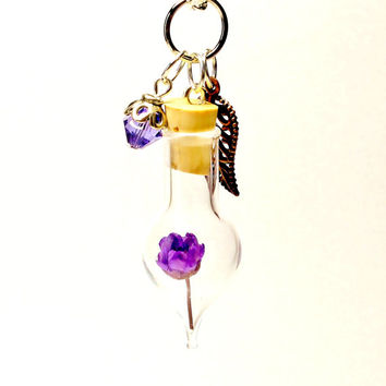 Terrarium Necklace Nature Jewelry Miniature Purple Flower Mini Glass Bottle Leaf and Crystal