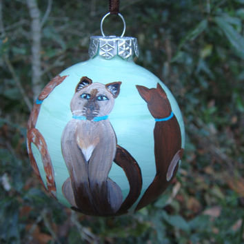 Hand Painted Glass Ornament with Circle of cats
