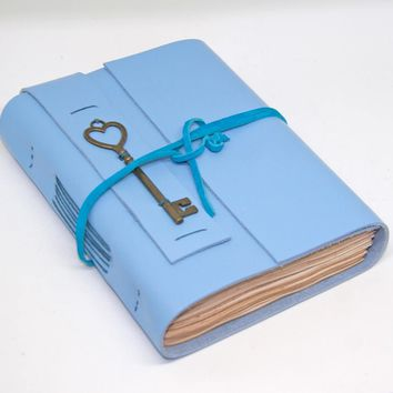 Blue Leather Journal - Tea Stained Paper - Travel Journal - Leather Journal - Heart Key Charm - Bookmark - Journal - Handmade -