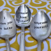 Custom Coffee Spoons Set of 3 Hand Stamped by jessicaNdesigns