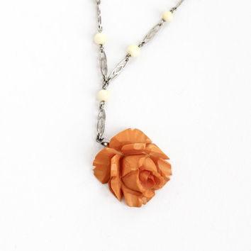 Vintage Carved Bakelite Rose Necklace - 1930s Art Deco Silver Tone Chain Butterscotch Brown Orange Flower Charm Jewelry Hallmarked Germany