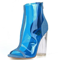 Denim Blues Perspex Booties