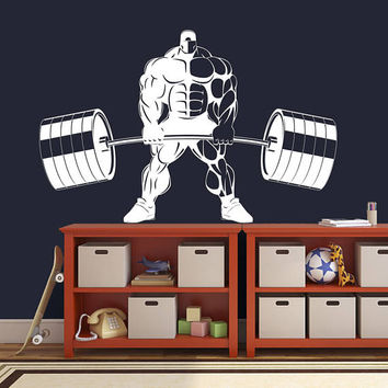 Workout Training Wall Decal, Muscle Man Training Sticker, Home Gym Bodybuilding Wall Decor, Barbell Training CrossFit Decor Mural Art se160