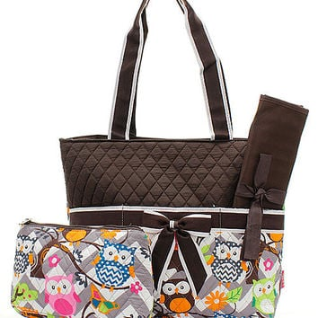PERSONALIZED OWL 3 piece diaper bag set new