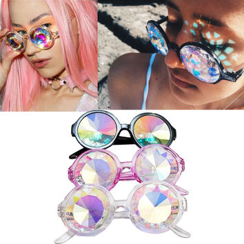 2016 Fashion Retro Round Kaleidoscope Sunglasses Men Women Designer Eyewear Kaleidoscope lens Glasses oculos de sol