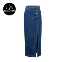 BiSHE Women'S Maxi Pencil Jean Skirt- High Waisted A-Line Long Denim Skirts For Ladies- Blue Jean Skirt Plus Size Classic Saia