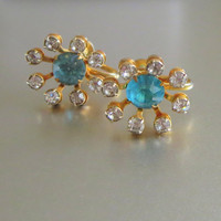 Bugbee & Niles Rhinestone Earrings, Vintage Atomic Aquamarine Clear Crystal Gold Tone Screw Backs, Signed, Sputnik Era!