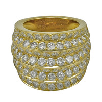 "Van Cleef & Arpels ""Seville"" Eight Row Spectacular Diamond Gold Ring"