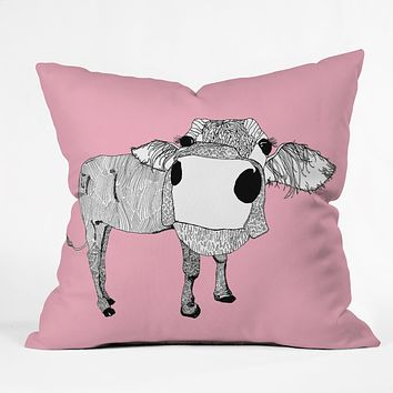 Casey Rogers Cowface Throw Pillow