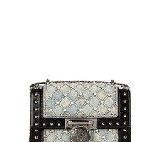 Denim Studded Boxed Flap Bag