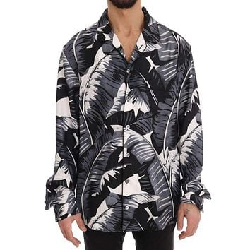 Dolce & Gabbana Black Gray Banana Leaf Print Casual Shirt
