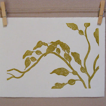 Kelp  Hand Pulled Linocut  PRINT by WoodenSpoonEditions on Etsy