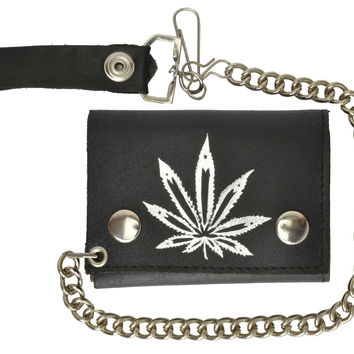 Genuine Leather Trifold Biker Chain Wallet Marijuana Leaf Imprint 946-2 (C)