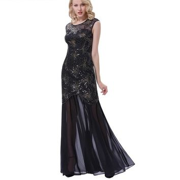 Long Black Prom Dresses for Wedding Party Sequins Appliques Prom Gowns Women Cap Sleeve Special Occasion Dresses