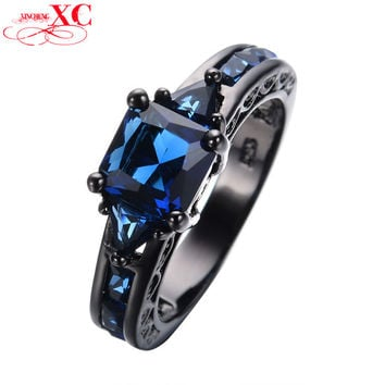 5 Princess Cut Blue Sapphire Women Wedding Ring anel Vintage Jewelry CZ Band Black Gold Filled Engagement Rings Punk Style RB0050