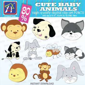 80% OFF SALE Cute baby animals clip art,cute faces baby showers, Instant Download clipart Commercial Use  vector graphics digital clip art