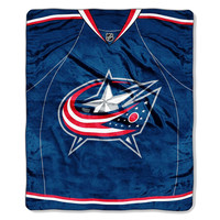 Columbus Blue Jackets NHL Royal Plush Raschel Blanket (Jersey Series) (50x60)