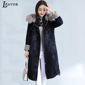 Fox Fur Hooded Parka Denim Jacket Women 2018 Winter Coats Faux Lamb Hair Thick Female Jacket Long Warm Jean Jackets Overcoat 62