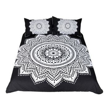 Black & White Mandala Boho Bedding Set