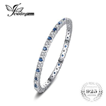 JewelryPalace Classic Round Created Blue Spinel Wedding Band Rings For Women 100% 925 Sterling Silver Brand Fashion Fine Jewelry