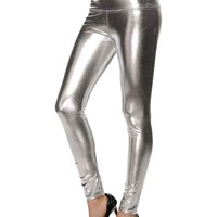 Trending Faux Leather Legging, Silver