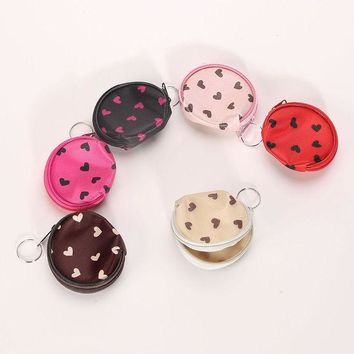 ONETOW Portable Women Girl Headset heart dots Coin Key Wallet Purse Hand Bag Package Gifts Random color