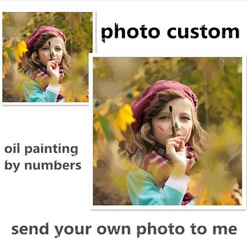 Photo custom make your own diy digital oil painting by numbers picture drawing on canvas portrait wedding family photos SS001