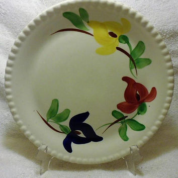 Mid Century 1950's Hand painted/Under Glaze Carnival Pattern Blue Ridge Dinner Plates/Made by Southern Potteries Inc./Made in the U.S.A.