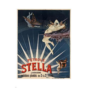 Pétrole Stella FRENCH VINTAGE ADVERTISING Poster 1897 24X36 Unique Art