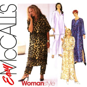 Plus Size Caftan and Lounge Pajamas Pattern UNCUT McCall's 2525 Pullover Robe or Top and Pants Womens Sewing Pattern