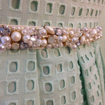 Skinny Pearl and Crystal Mixed Bead Bridal and Bridesmaids Ribbon Sash