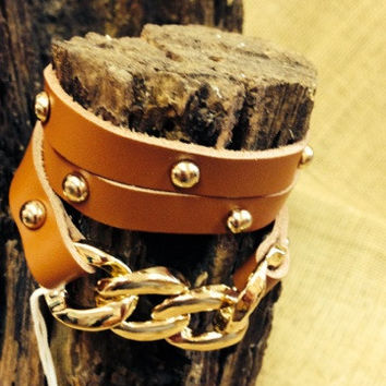 Brown/Gold Leather Wrap Bracelet w/Chain