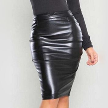 Hot Fashion Women Sexy Solid High Waist Faux Leather Skirt  Female Bodycon Pencil Office Party Skirt 5 Colors to Choose