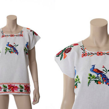 Vintage 70s Embroidered Peacocks Mexican Top 1970s Counted Stitch Floral Boho Festival Hippie Peasant Folk Blouse Caftan Shirt / One Size