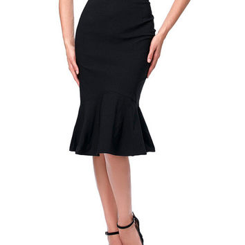 Royal Blue Skirts Faldas Women's Dashion OL Casual Mermaid Dark Wine Black Pencil Skirt Jupe Longue High Waist Long Skirt Women