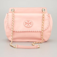 Marion Leather Saddle Bag, Pink