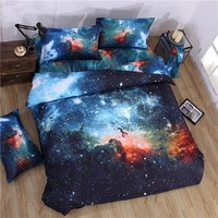 3D Mysterious Boundless Galaxy Colorful Outer Space Bedding Sets Bedlinen Duvet/Quilt Cover Set 4pcs Queen Size ( Color - A)