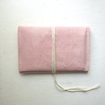 Handmade hand-dyed soft pastel pink canvas double passport wallet - Volcano Store