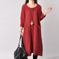 Cotton Linen Large Size Loose Fitting Long Dress