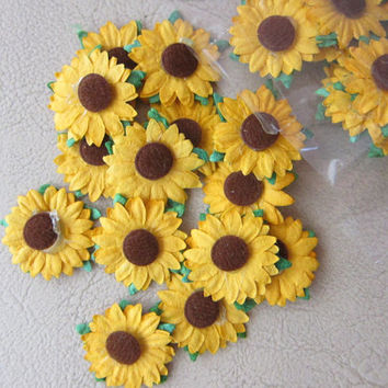 "50  Handmade multi layer Mulberry Paper Flowers 1"" -  sunflower daisy Wedding  scrapbooking decoration, cardmaking, craft"