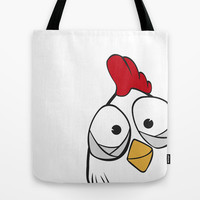 Chicken says hello! Tote Bag by Fairytale ink | Society6